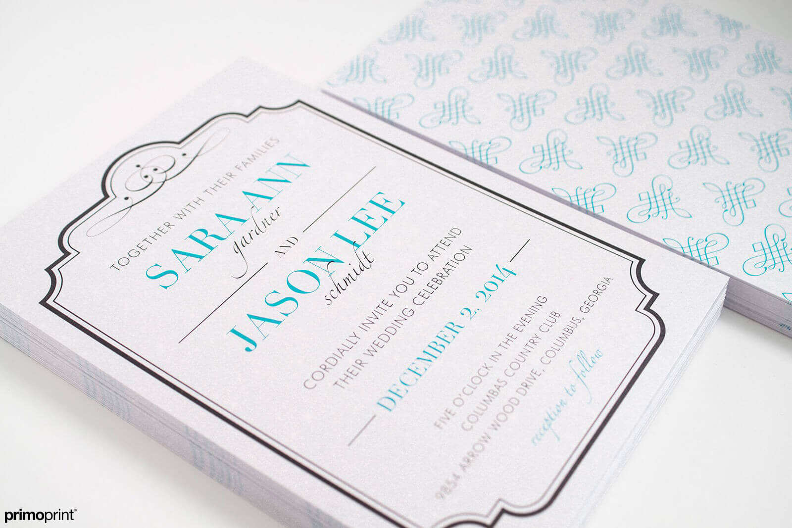 Pearl Metallic wedding invitation.